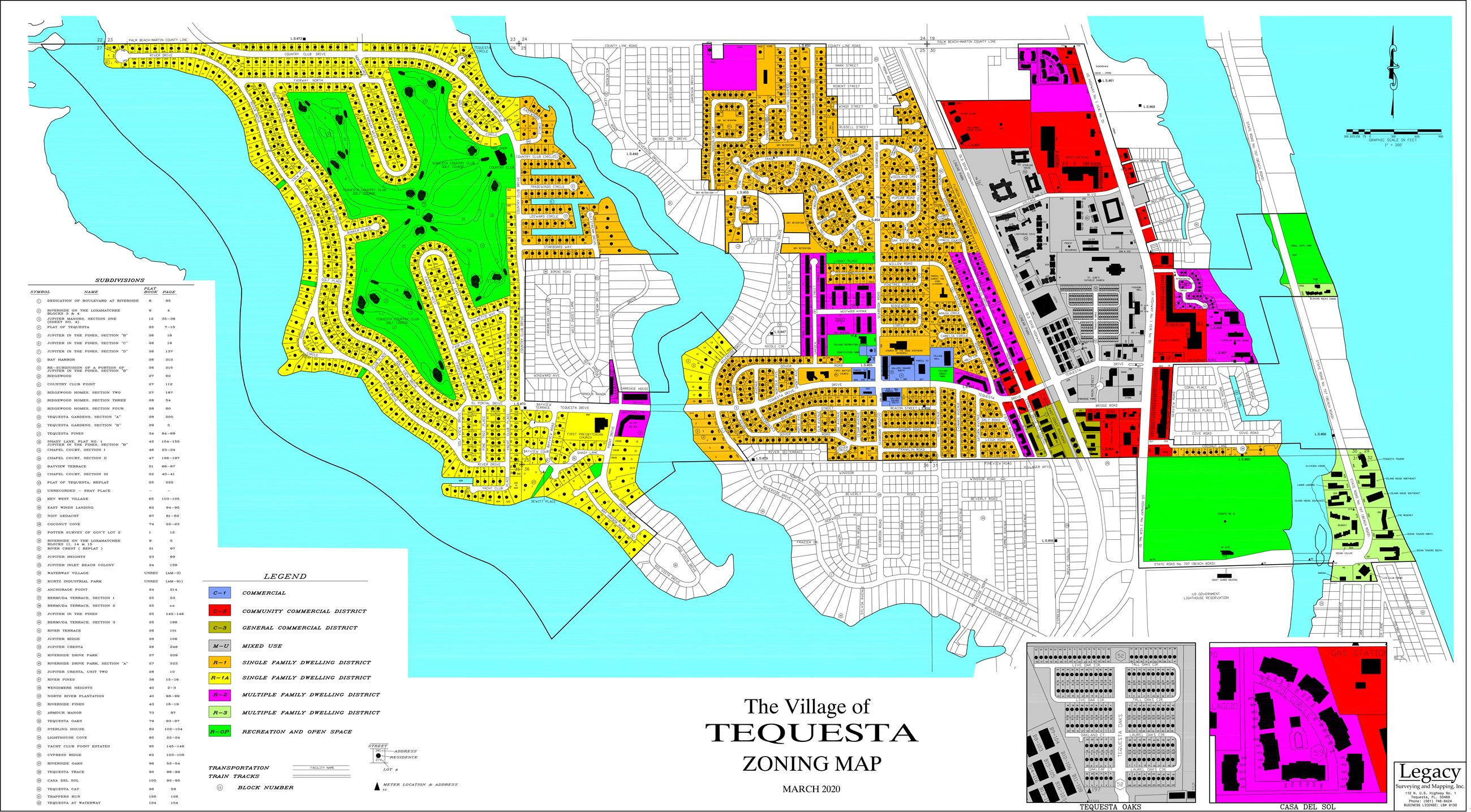TEQUESTA COLOR WALL MAP MARCH 2020 28x54